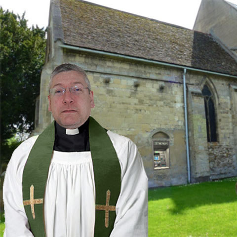 Mark the vicar in fancy dress