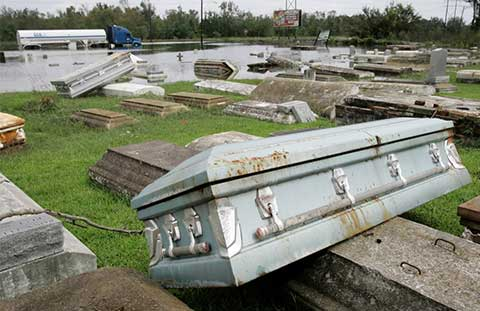 Coffins Exhumed by Texas flood