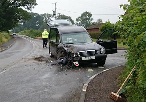 Image result for crashed hearse
